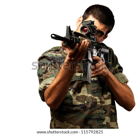Soldier Gunman Aiming His Target On White Background