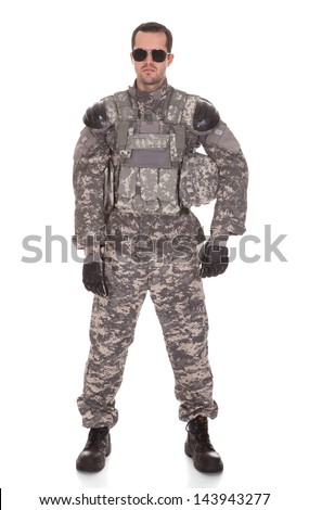 Soldier Holding Rifle Isolated Over White Background