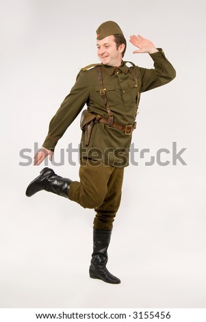 Soldier in historical soviet military uniform of World War II - stock photo