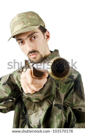Soldier isolated on the white
