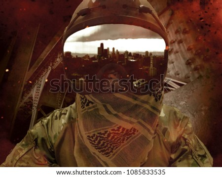 Soldier looking down from industrial tower towards metropolis during massive explosion