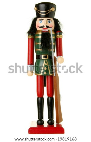 Soldier nutcracker isolated on white
