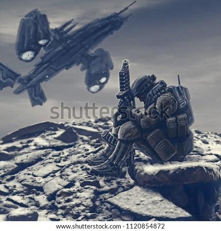 Soldier of the future awaits evacuation. Landing the spacecraft on alien planet. Landing spacecraft.