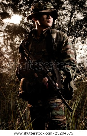soldier portrait in the jungle