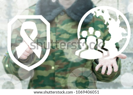 Soldier pressing shield hope ribbon button and offer earth globe people icon on a virtual interface. Military Protection and Safety World Nation concept.