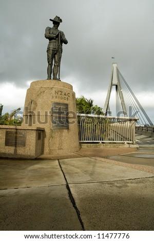 soldier sculpture in front of Anzac Bridge in Sydney