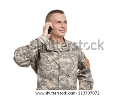 Soldier talks on a Cellphone