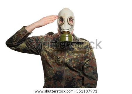soldier with gas-mask