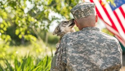 Soldier with his dog outdoors on a sunny day with american flag on the background