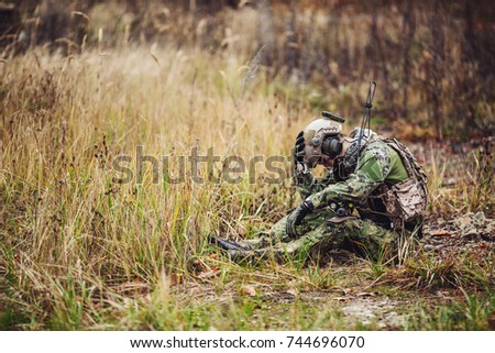 Soldier With PTSD. military, war and emotional concept. Stock fotó ©