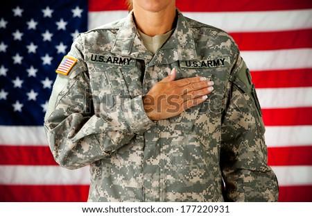 Soldier: Woman Pledging Allegiance