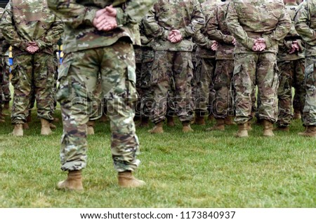 Soldiers from the back. troops, army, military men