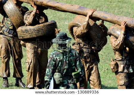 Soldiers game on military training ground ( battle camp ). Action. Operation