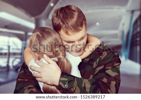 Soldiers Hug Uniformed Military Male Hugging Female Close Up