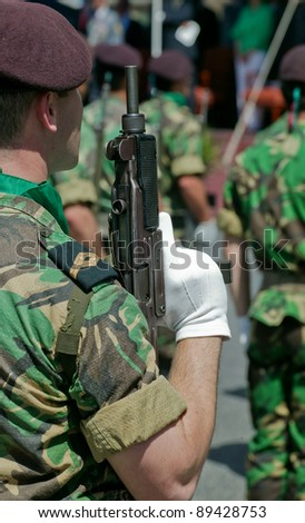 Soldiers in army Parade - stock photo
