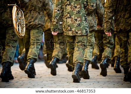Soldiers march in formation(Motion Blur) - stock photo
