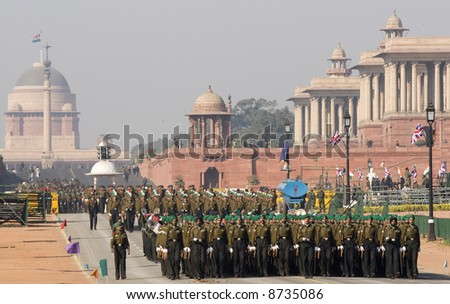 Soldiers marching down the Raj Path in preparation for Republic Day Parade, New Delhi, India
