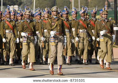 Soldiers marching down the Raj Path in preparation for Republic Day Parade, New Delhi, India - stock photo