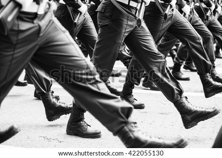 soldiers marching training in the army (black and white photo)