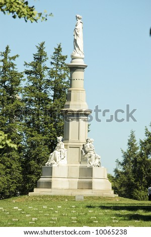 Soldiers National Monument at the center of Gettysburg National Cemetery, Randolph Rogers, sculptor