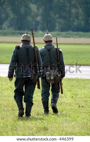 soldiers on patrol in german 1st world war uniforms