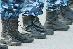 Soldiers parade boots feet