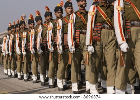 Soldiers parading down the Raj Path in preparation for the Republic Day Parade, New Delhi, India