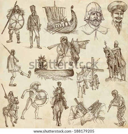 Soldiers, Warriors and Heroes (People and weapons all over the world - collection no.2, paper set) - Description: Collection of an hand drawn illustrations isolated on old paper.