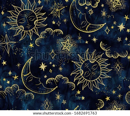 Soleil Cosmos Astrology Pattern Background Photo stock ©
