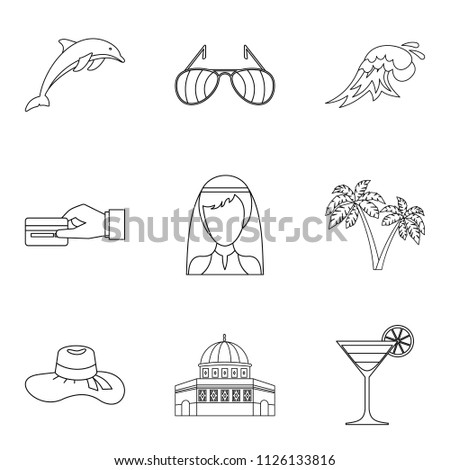 Solemn ceremony icons set. Outline set of 9 solemn ceremony icons for web isolated on white background