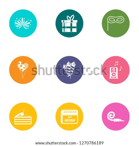 Solemnity icons set. Flat set of 9 solemnity icons for web isolated on white background
