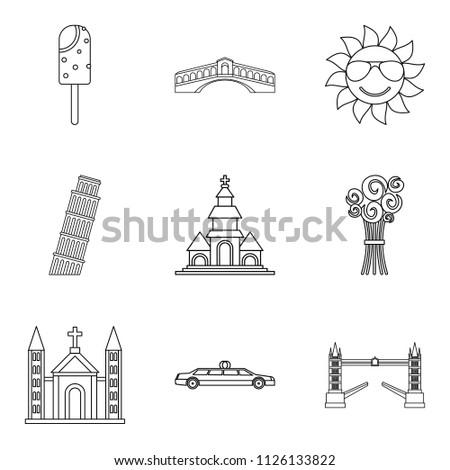 Solemnization icons set. Outline set of 9 solemnization icons for web isolated on white background