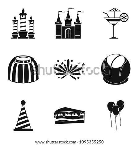Solemnization icons set. Simple set of 9 solemnization icons for web isolated on white background