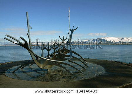 Solfar (Sun Voyager) on Reykjavik's waterfront. The sculpture is inspired by the viking's ships.