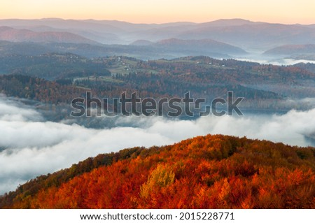 Solińskie Lake at autumn sunrise, Solina, Polańczyk, Bieszczady, sunrise Zdjęcia stock ©