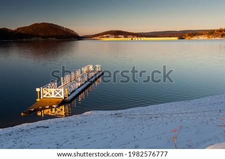 Solińskie Lake seen from the Cypel peninsula in Polańczyk. View of the dam. Polanczyk, Solina, Bieszczady Mountains. Zdjęcia stock ©
