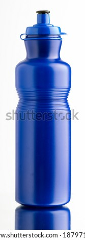 Solid blue plastic bottle of water clear and shiny