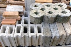 Solid clay bricks used for construction,Old red brick and Gray Cement Cinder Block