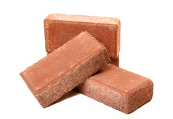 Solid clay bricks used for construction,Old red brick isolated on white background. Object isolated.