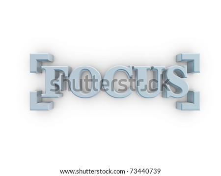 solid focus text in frame of digital camera on white background - stock photo