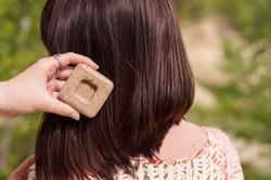 solid hair shampoo. organic cosmetics
