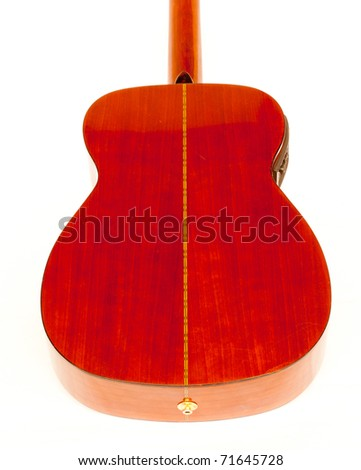 Solid maple wood acoustic/ electric guitar back isolated in white.