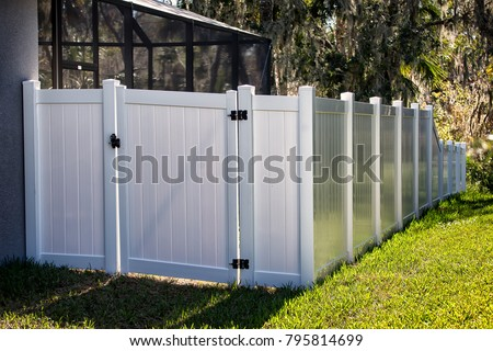 Solid Privacy Vinyl Fence With Gate  - Shutterstock ID 795814699