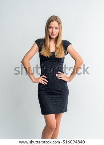 Free Photos Beautiful Woman In A Little Black Dress Looks Back