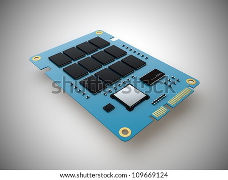Solid state drive board - stock photo