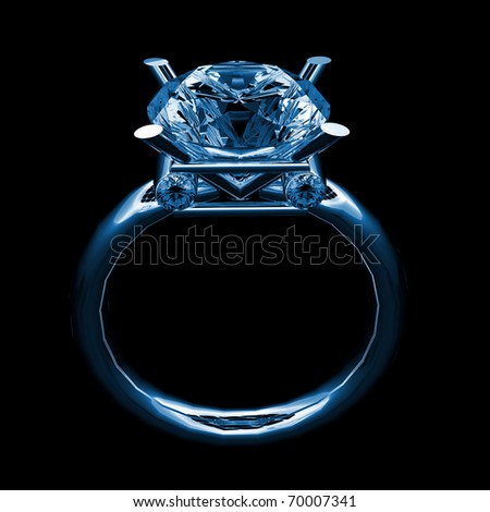 solitary golden diamonds ring x-ray