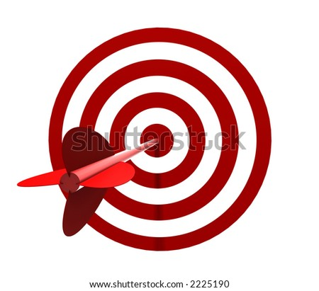 Solo Red and White target with arrow - isolated on white