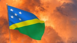 Solomon Islands flag on pole. Dramatic background. National flag of Solomon Islands