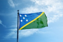 Solomon Islands flag on the mast