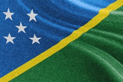 Solomon Islands glitter flag, national flag, glittering flag sparkle background